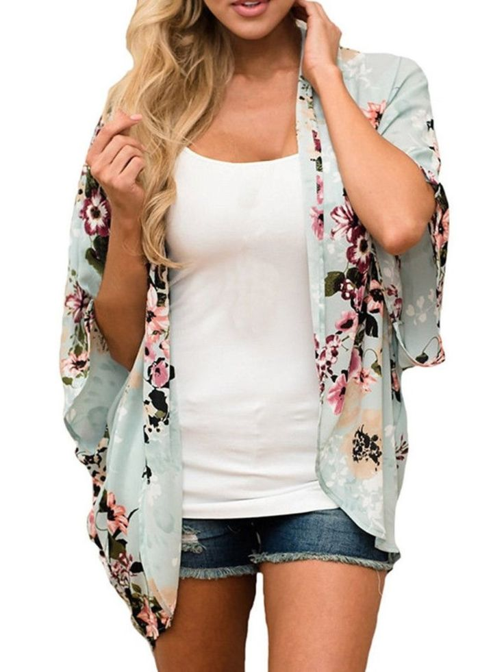 Women Casual Floral Half Sleeve Kimono Batwing Sleeve Cardigan Beach Cover Up Tops