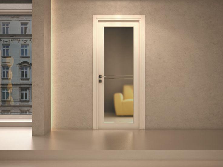 FBP porte   Collezione MADI' Mod. F1 vetro - Colore: laccato RAL 9010 #fbp #porte #legno #door #wood #varnished #woodcut #glass