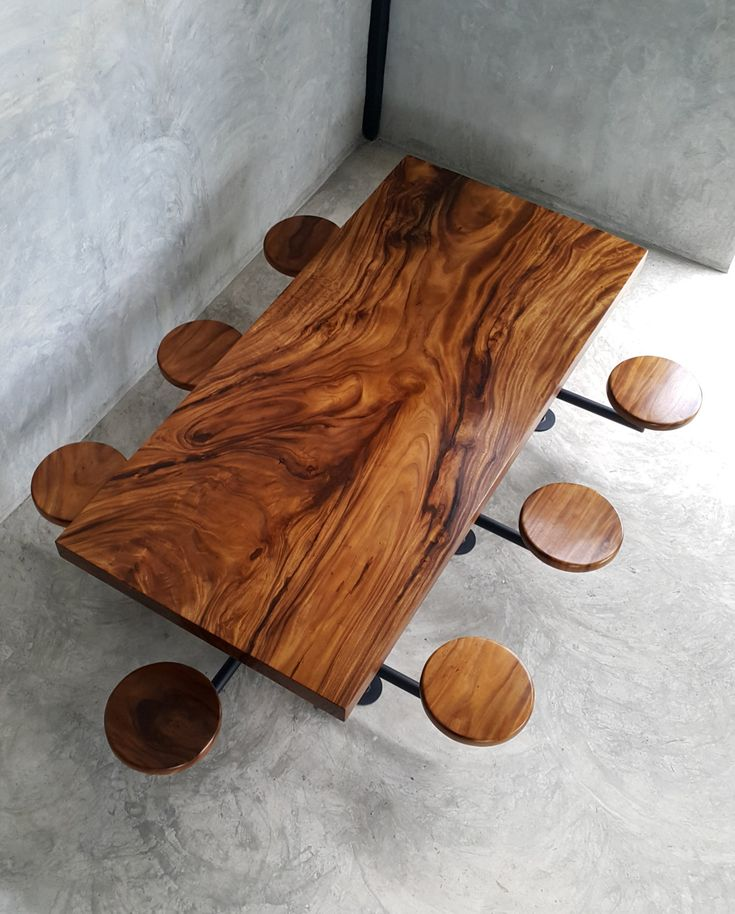 Straight Edge  Seater Dining Table Acacia Wood Single Slab With