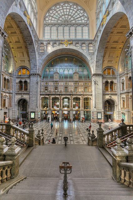 Antwerp Central Station - Belgium nicknamed the Railway Cathedral.  This is one of the world's most amazing stations.