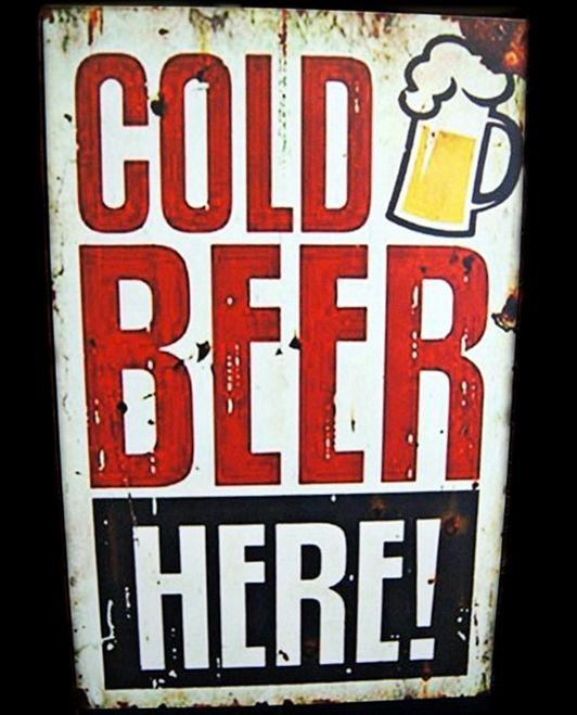 Cold Beer Here! - 20x30cm MDF Material - 125K