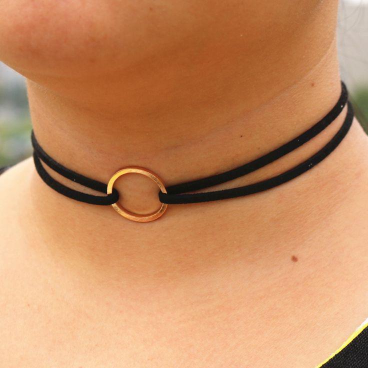 N978 Black Velvet Suede Leather Choker Necklaces Women Circle Short Chain Collares Fashion Jewelry Gothic Bijoux Steampunk