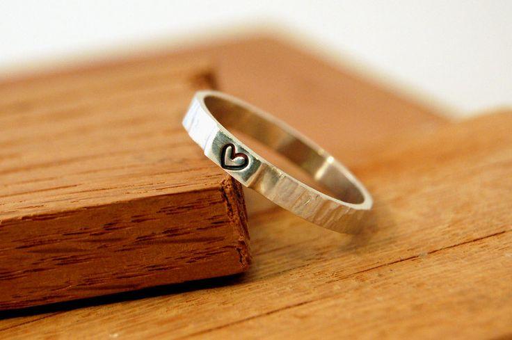 Alianza plata de compromiso, anillo de promesa con corazón, anillo de amistad con corazón de Lrplana en Etsy