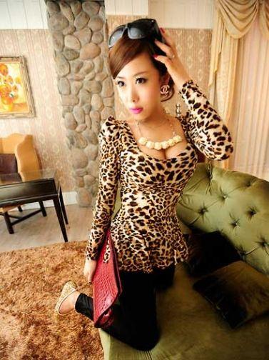 Sexy Low Cut Leopard Print Stripes Peplum Long-Sleeve Shirt Brown on DressLuck.com 13.99