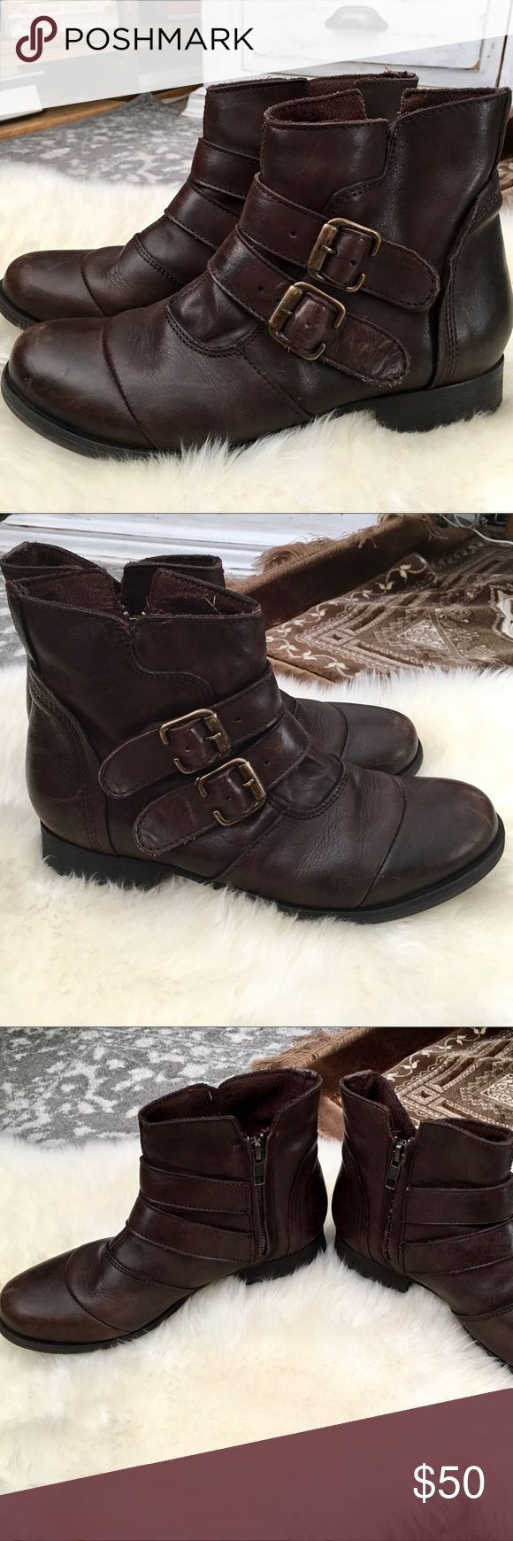 Gabriella Rocha Roise Bootie NWOT These are a great pair of genuine leather booties that have never been worn! Size 7 in chocolate brown with brass buckle accents. Gabriella Rocha Shoes Ankle Boots & Booties