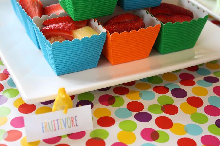 Dinosaur party food / dessert table Fruit cups