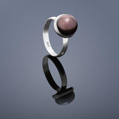 Prsten Buka střední perla – černá