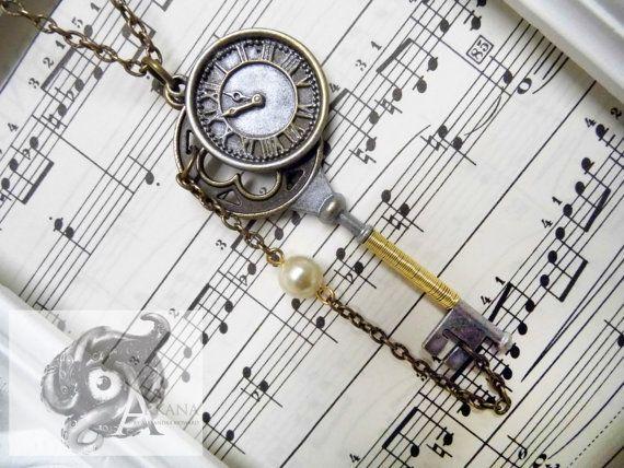Neo-Victorian steampunk wedding pendant - key, clockface, chain and resin pearl - bride bridesmaid gift groom wedding jewellery jewelry - Arkana Clothing by Alexandra Howard
