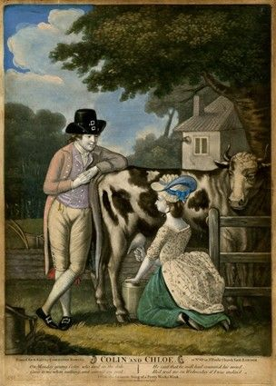 A young man leans on the back of a cow that a pretty girl is milking, with a cottage in the background to right; an illustration to the song.  1783  Hand-coloured mezzotint with some etching Printed gown with plain petticoat - does not appear to be quilted.