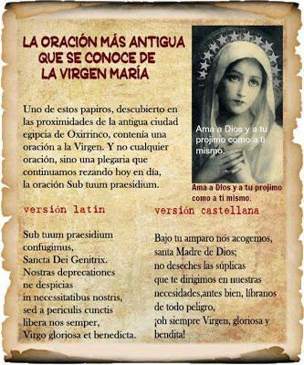 Oracion Antigua a la virgen Maria
