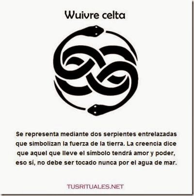 Celtic Wuivre is represented by two intertwined snakes symbolizing the strength of the Earth. The belief is that those who wear the symbol will have love and power, that Yes, should be untouched never by seawater.