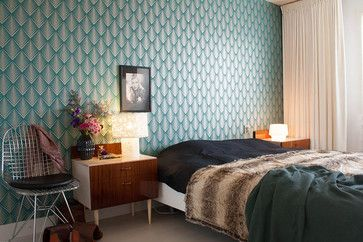 My Houzz: Contemporary design and retro finds meet in 1930s family home eclectic bedroom