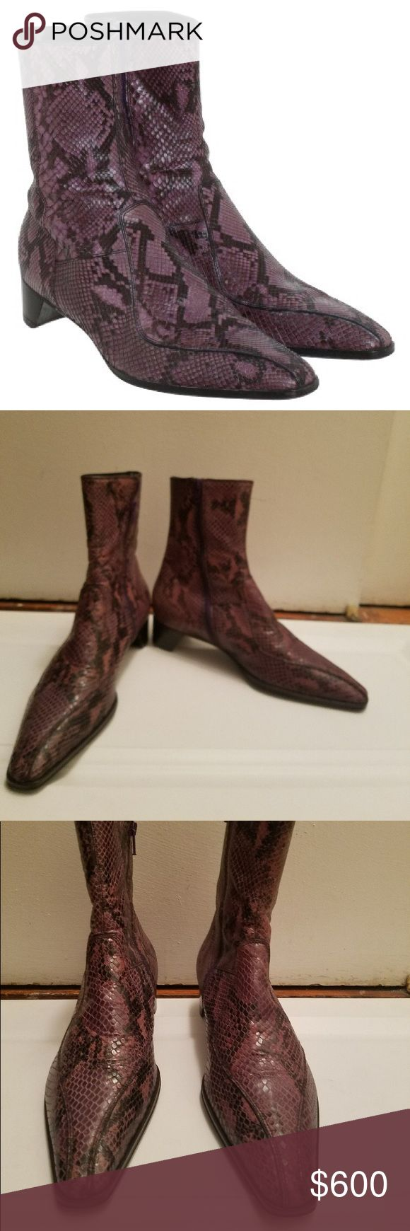FRIDAY POST Python snake skin prada boots 39 Very good used condition Python snake skin in  violet /purple color  zipper  in inseam very comfortable size 39 euro fits 8 1/2 or 9 Perfectly worn few times indoor mostly for couple hours each as can be seen by soles been sitting in my closet Prada Shoes