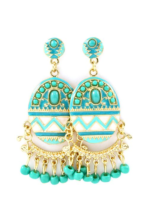 Chandelier Earrings in Turquoise - Enameled in Turquoise Hues, Golden Boho Chandeliers finished with Tiny Seed Beads.