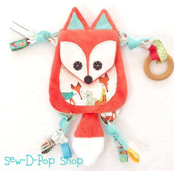 Mini Fox Baby Lovey Woodland Blanket Binky Clip por SewDPopShop
