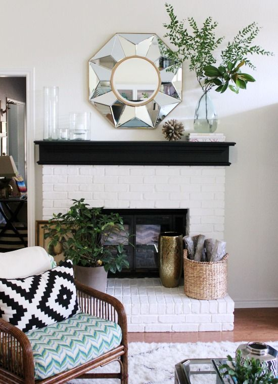 Beautiful white painted brick mantel eclecticallyvintage.com