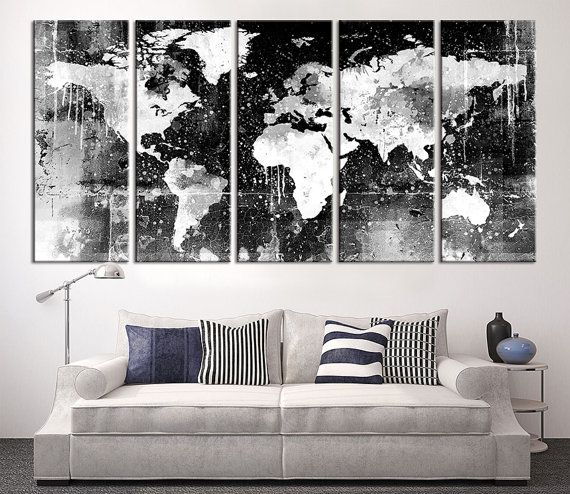 Canvas Print - Black and White World Map Wall Art, Ready to Hang Large Wall Art…