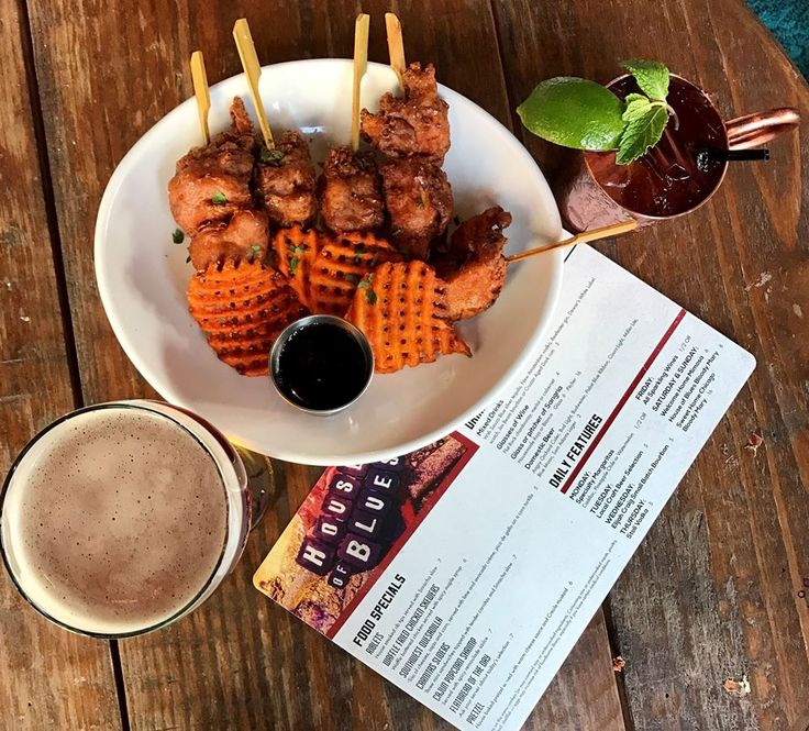 Waffle Fried Chicken Skewers | Waffle battered chicken served with spicy maple syrup |   Only available during House of Blues Happy Hour!