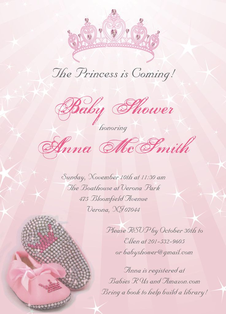 Princess Baby Shower Invitations....perfect For Girl Baby Shower Or  Customized Differently