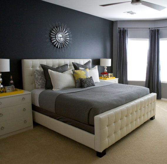 Yellow And Grey Bedroom Themes: Shades Of Charcoal Gray Look Stunning With Accents Of