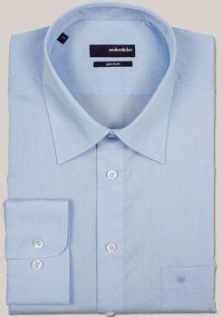 SPLENDESTO Hemd extra langer Arm mit Basic Kent Kragen aus hellblauem Fil a Fil