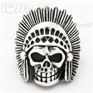 DEATH NATIVE INDIAN CHIEF SKULL HEAD 925 SILVER RING