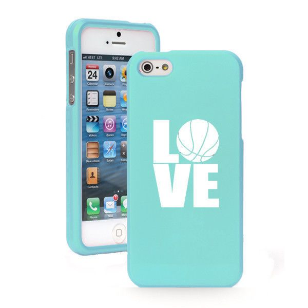 For iPhone 4 4S 5 5S 5c Light Blue Rubberized Hard Case Cover LOVE Basketball in Cell Phones & Accessories | eBay