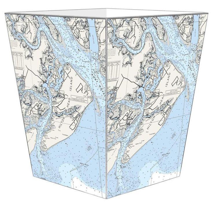 Hilton Head, SC Nautical Chart Wastepaper Basket