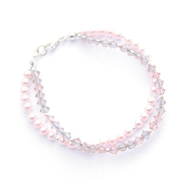 Soft pink, Swarovski pearls and Swarovski crystals. Soft brilliance.
