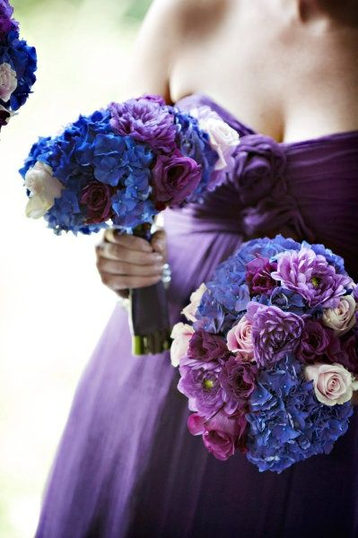Blue hydrangeas with dark purple bouquets #purple #wedding #bouquets