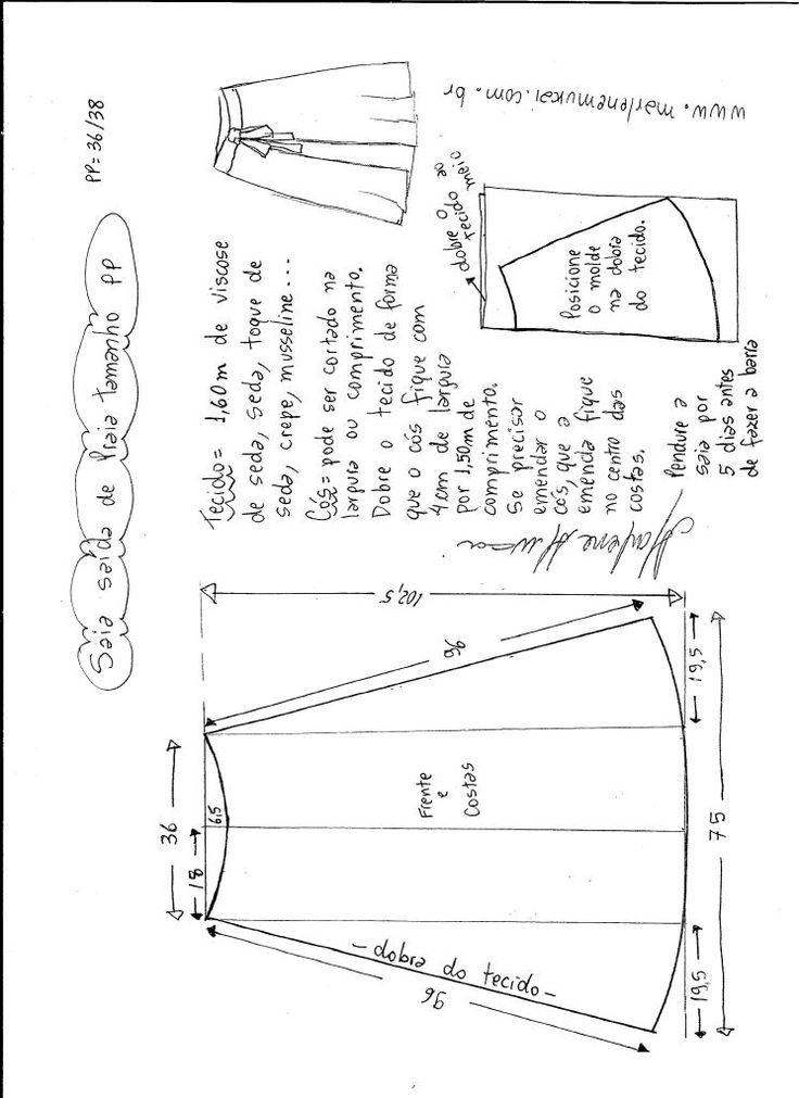 Esquema de modelagem de saia saída de praia tamanho PP.