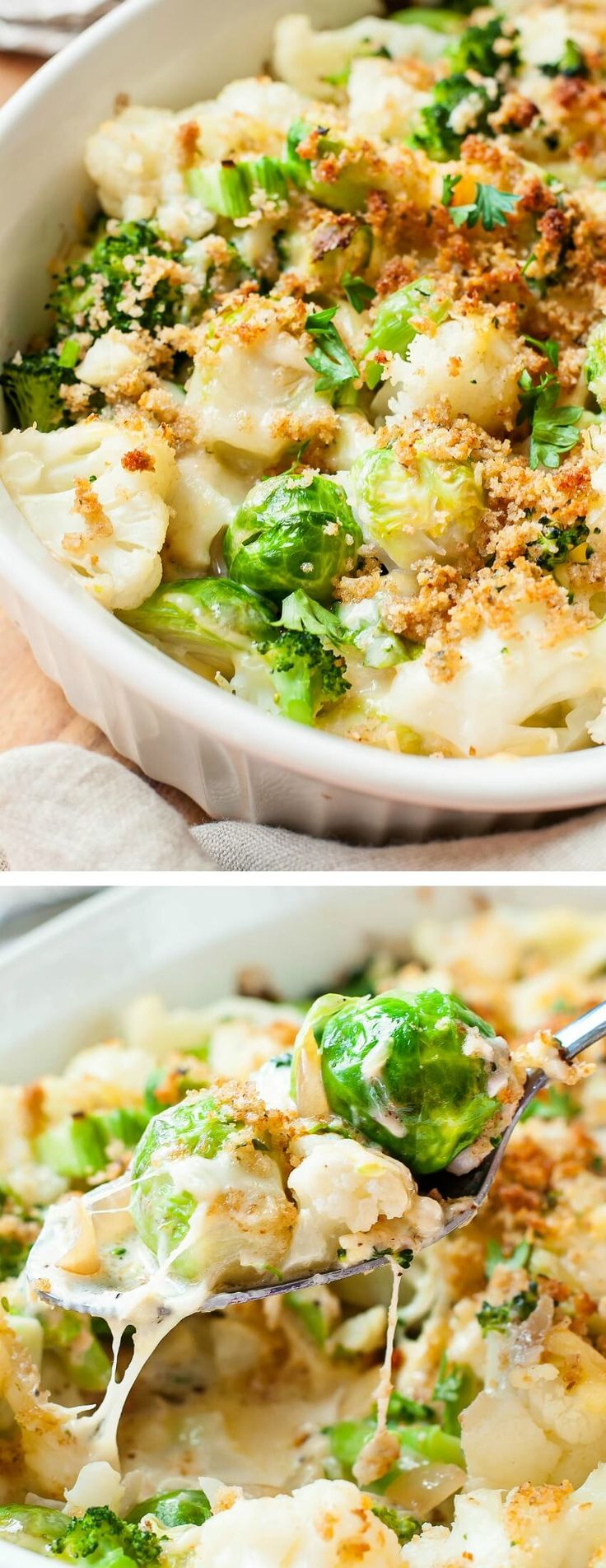 Cheesy Broccoli, Cauliflower, and Brussels Sprouts blanked in the most amazing cheese sauce ever! We're crazy for this easy cheesy casserole