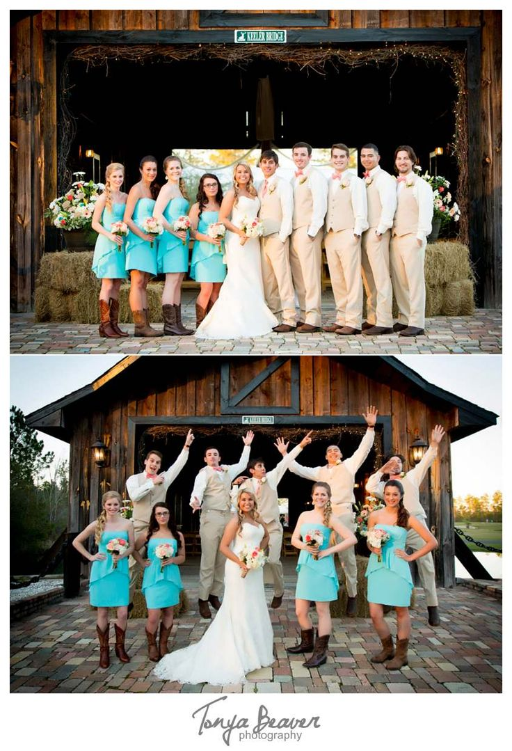 Keeler Property Wedding Photos - Jacksonville Wedding Photography - Tonya Beaver Photography  - Covered Bridge - Bridal Party Jump - Turquoise Bridesmaid Dresses - Cowboy Cowgirl Boots - Tan Tux - Pink Ties
