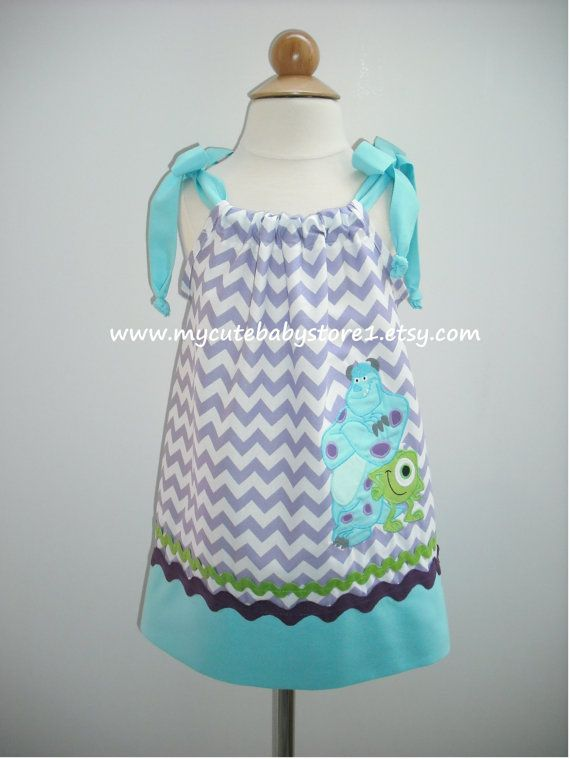 Mike and Sully from Monsters Inc Pillowcase Dress 3rd birthday