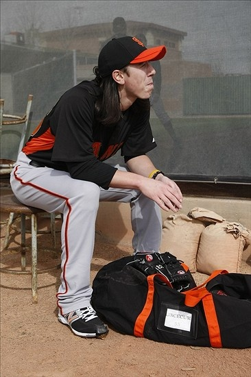 Tim Lincecum taking a break during Spring Training 2012. Find SF Giants tickets at Zigabid.com