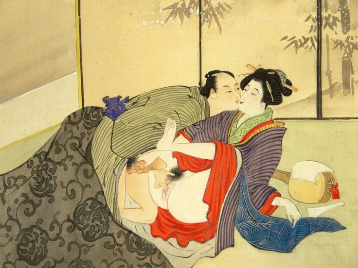 Erotic 19/20th Century Japanese Shunga Mixed Media on Woven Linen Painting Laid on Paper and Paper Laid on Cardboard Matting. Unsigned.