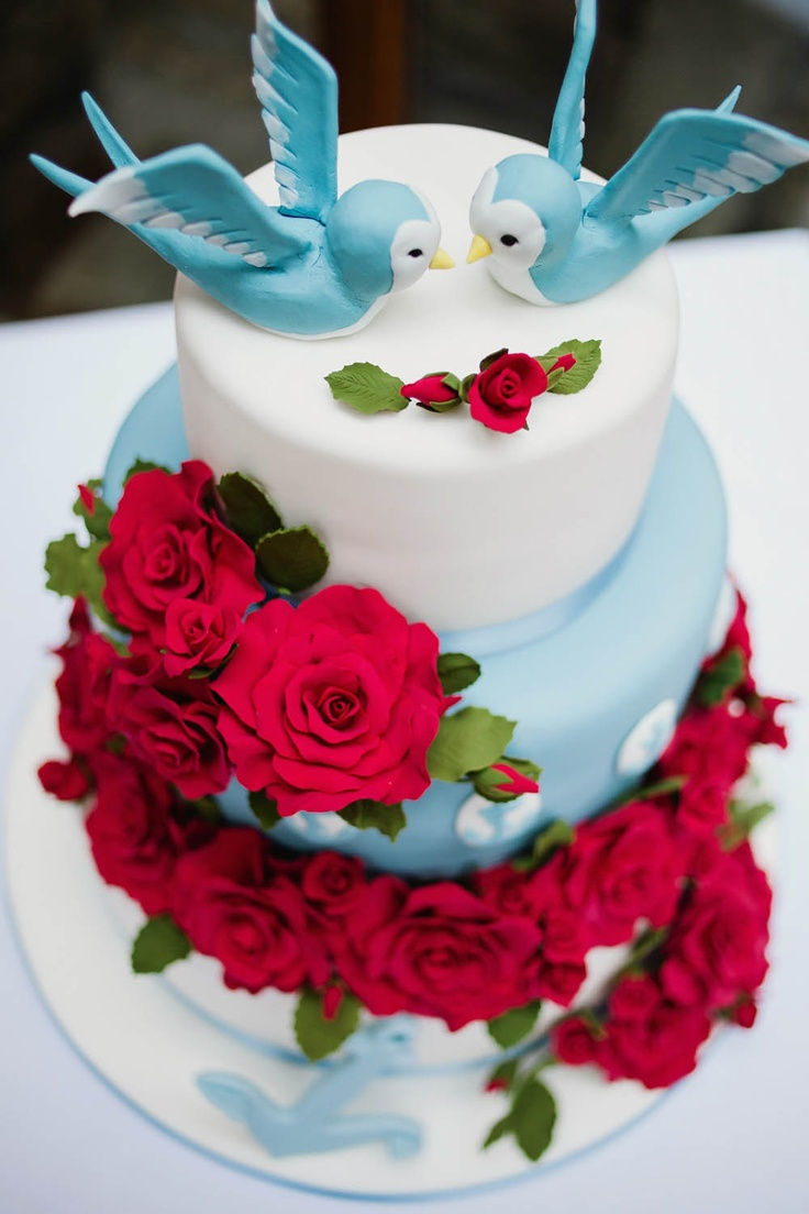 Fabulously kitsch 1950s retro lovebirds wedding cake. I just love the contrast between the baby blue and the deep red flowers.