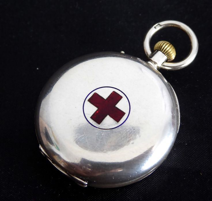 Antique 1907 Sterling Silver Red Cross Military Pocket Watch London Import - The Collectors Bag