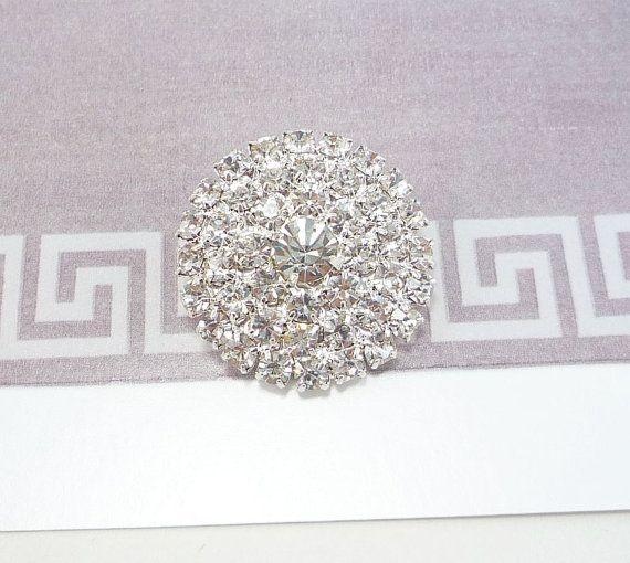 Round Silver Rhinestone Button (25mm, 1pc)