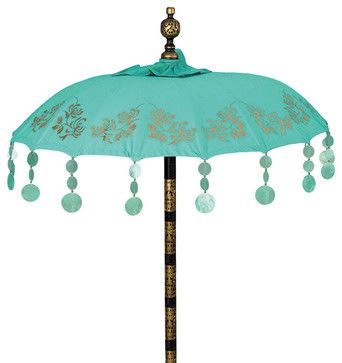 Balinese Turquoise Chrysanthemum Umbrella mediterranean-outdoor-umbrellas