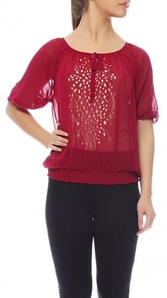 Half sleeve sheer peasant blouse, with lazer cutwork details on front. Light and breezy fabric makes it a loose fit garment while being fitted on the hem. Composition: Polyester. Color: Pink #sbuys #fallwinter2013 #fw13 #cutwork #smokcing #boho Shop now at www.sbuys.in