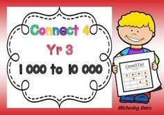 This Connect 4 packet is a fun way for students to revise  and consolidate their understanding in numbers from 1000 to 10 000  It revises: Base ten blocks, partitioning of numbers, - standard and non-standard, expanding numbers, and place value.