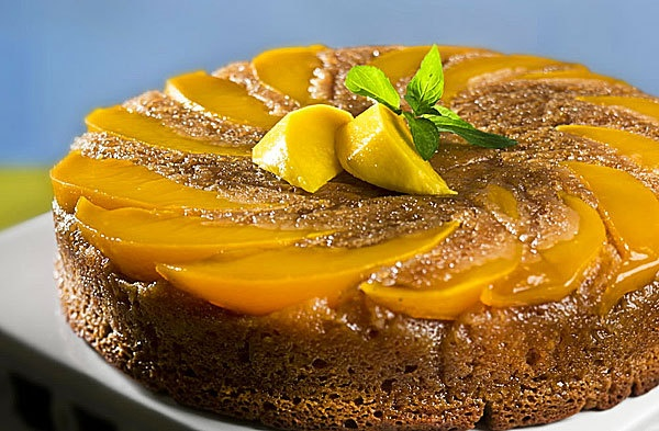 Honey Mango Upside-Down Cake