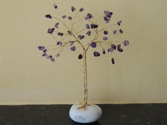 February birthstone Amethyst gemstone tree Wire tree by AbssOluto