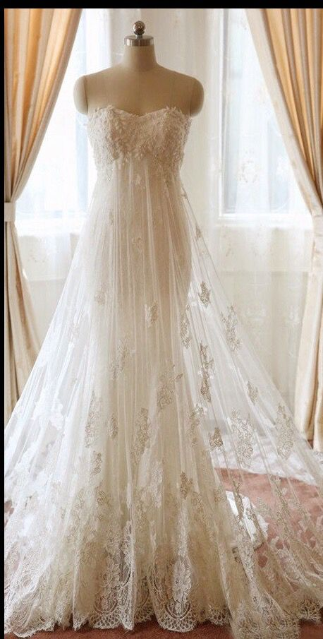 Strapless Empire Waist Lace Wedding Dress $750 Etsy Shop: WeekendWeddingDress