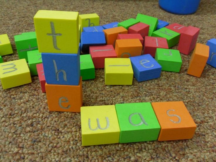 sharpie on foam blocks to build words, abc order, etc.