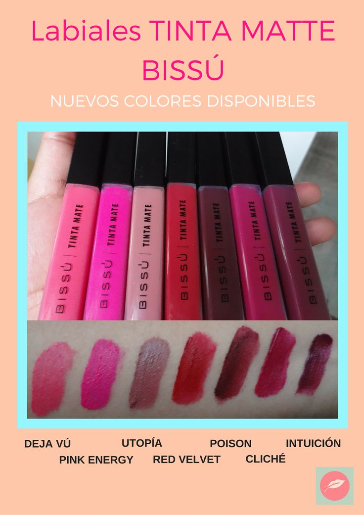 Labiales Tinta Mate #BISSÚ De venta en https://www.facebook.com/Three-Points-Makeup-398744966983092/?ref=bookmarks
