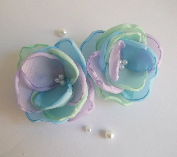 Multicolor mint lilac sky blue fabric Flowers by ZBaccessory, $12.00