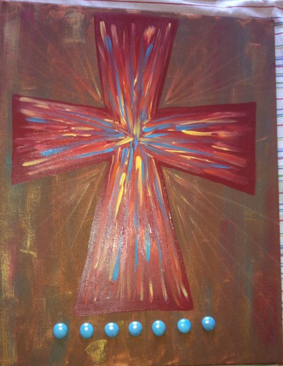 Hand Painted Stretched Canvas Cross by CrossCraze on Etsy, $25.00