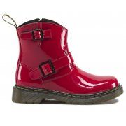 Size: 5 to 9 full sizes The original Biker boot is now available in an exact mini replicas of these original versions. These have the distinctive contrast stitch, the yellow and black heel loop. A side zip for ease of use by small fingers is used across all sizes. Available in three fantastic patent colours, pink, red and black http://www.marshallshoes.co.uk/childrens-c20/dr-martens-kids-jiffy-junior-red-patent-16219601-p2133